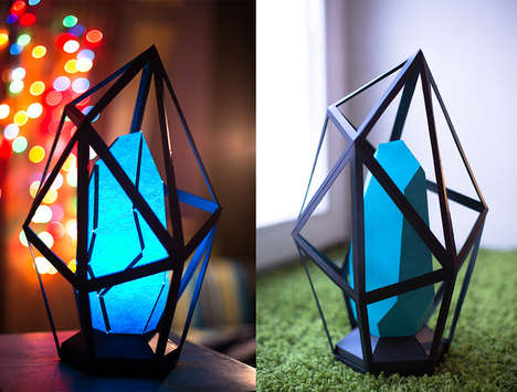 Diamond-Shaped Paper Lamps - Etsy's Papercraft Lamps Shop Offers Crystallized and Colorful Fixtures