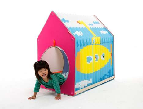 Expandable Child Playhouses - The Accordion Playhouse Toy Expands and Contracts for Interactive Fun