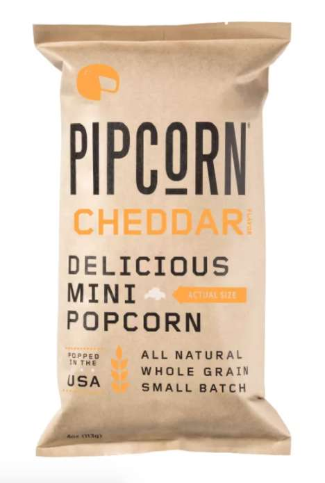 Dairy-Free Popcorn Snacks - Pipcorn's Cheddar Popcorn Snack is Vegan and Gluten-Free
