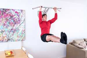 This Portable Pullup Dip Bar Can be Installed and Used Inside or Out