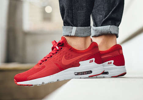 Streamlined Crimson Sneakers - The New Air Max Zero PRMs Have a Fitted Build and Subtly Retro Look