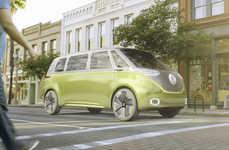 Retro-Futuristic Van Concepts - The Volkswagen 'ID Buzz' Van Refences the Hippy Vans of the 60s