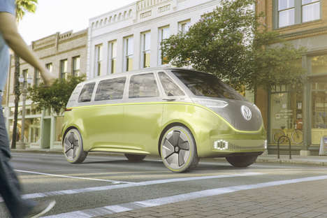 Retro-Futuristic Van Concepts - The Volkswagen 'ID Buzz' Van Refences the Hippy Vans of the 60s