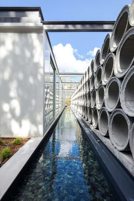 Concrete Tubing Walls - 'AB Residence' Repurposes Industrial Concrete Tubing for Privacy
