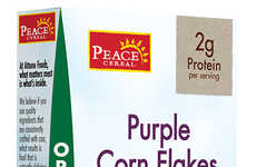 Purple Corn Cereals - Peace Cereal's Lightly Glazed Flakes Boast Organic Corn and Brown Rice