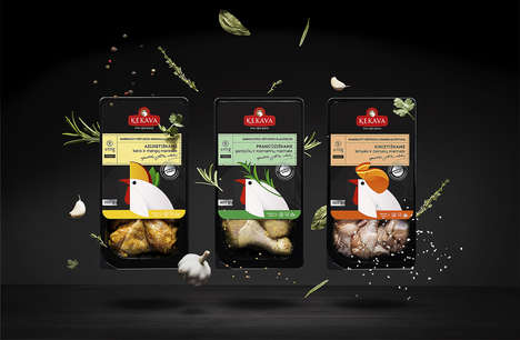 Cartoon-Illustrated Chicken Packaging - This Pre-Marinated Chicken Reveals Playful Imagery