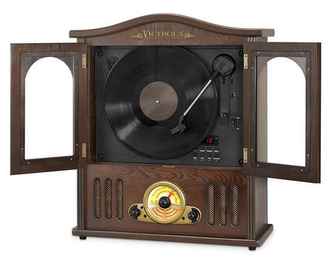 Old-Fashioned Bluetooth Speakers - The Vertical Victrola Turntable Stereo Has Retro and Modern Tech