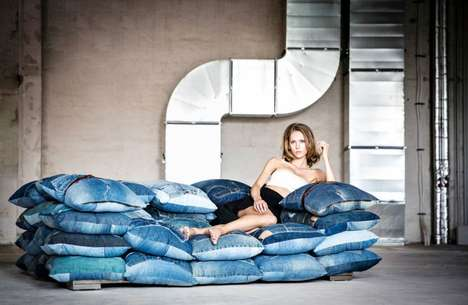 Recycled Denim Home Sofas - This Kare Design Sofa is Made with Pillows Crafted from Old Jeans