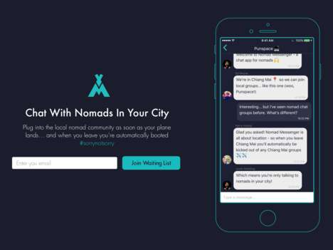 Digital Nomad Chat Apps - 'Nomad Messenger' is a Social Chat App for Connecting with Local Nomads