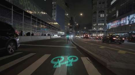 Bike Safety Projections - Citi Bike is Testing Blaze Laserlights on Bikes in New York City