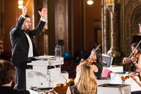 Harmonious Printer Concerts - Canon Makes 19 Printers Conduct an Orchestra Live on Stage