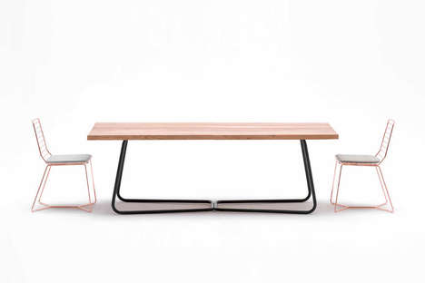 Contrasting Material Furniture - The 'Nex' Table and 'Rail' Chair Furniture Pieces are Modern