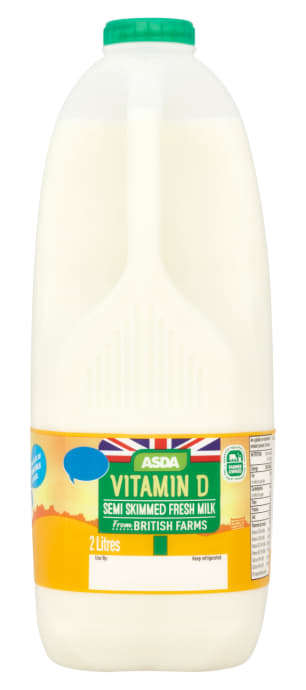 Dietary Supplement Milks - The Asda Semi-Skimmed Milk is Enriched with Extra Vitamin D