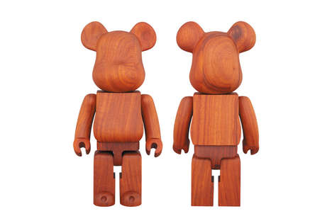 African Wood Bear Collectibles - This 'Bearbrick' Model from Medicom Toy Uses Padauk Wood