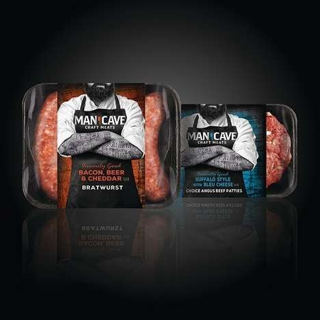 Manly Meat Packaging - Man Cave Craft Meats' Packages Feature Burly Branding