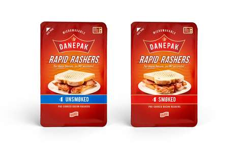 Pre-Cooked Microwavable Bacon - Danepak Rapid Rashers are a Quick Way to Get One's Bacon Fix