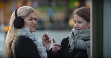 Coughing Bus Stop Billboards - This Apotek Hjartat Billboard Reacts When Smokers Walk By