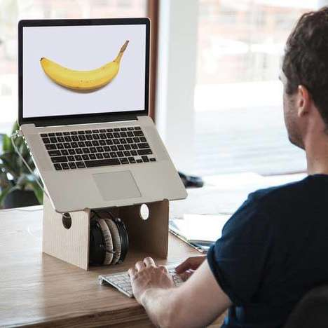 Recyclable Laptop Stands - The Lapaloft Cardboard Portable Laptop Stand Works with the MacBook