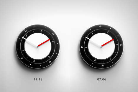 Rotating Time Clocks - The '10:11' Clock Tells Time by Moving the Numbers Not the Hands