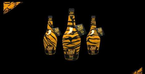 Charitable Tiger Rums - 'Wild Tiger Rum' Features Bold, Tiger-Striped Packaging