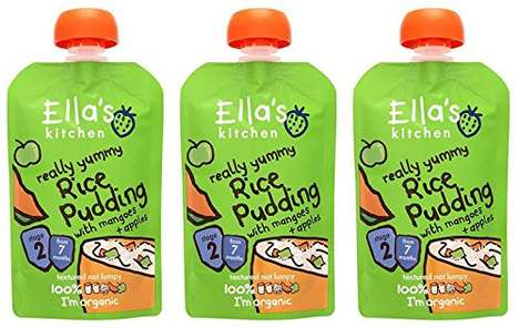 Conveniently Packaged Baby Puddings - The Organic Rice Pudding from Ella's Kitchen Comes in Pouches