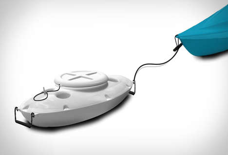 Aquatic Kayak Coolers - The 'CreekKooler' Floating Cooler Gets Attached to the Rear of a Kayak