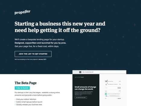 Bespoke Website Services - The 'Propeller' Landing Page Service Offers Quick Custom Website Work