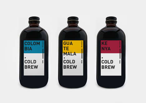 Color-Coded Cold Brew Coffees - This Coffee Collection is Offered by a South Korean Cafe