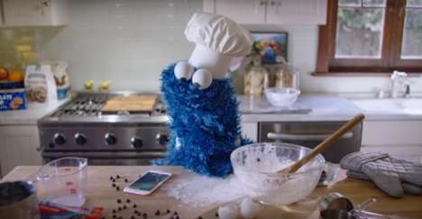 Comedic Puppet Cellphone Commercials - This Apple Ad Features Sesame Street's Cookie Monster
