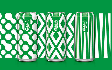 Millennial-Targeted Beer Packaging - The New Carlsberg Cans and Bottles are Artistically Bold
