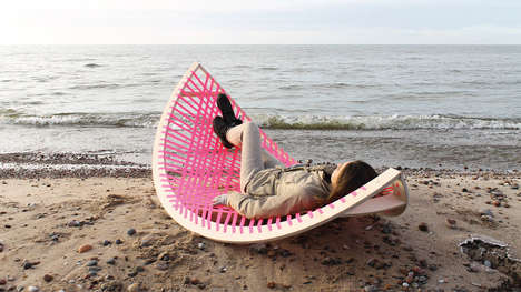 Active Relaxation Beach Chairs - The Panama Banana Beach Lounger and Soccer Goal is Multipurpose