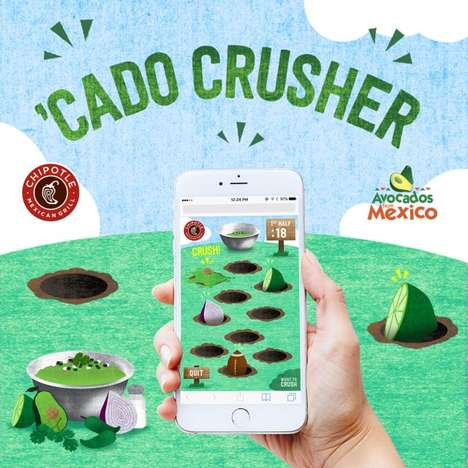 Promotional QSR Guacamole Games - The Chipotle 'Cado Crusher' Game Rewards with Free Chips and Guac