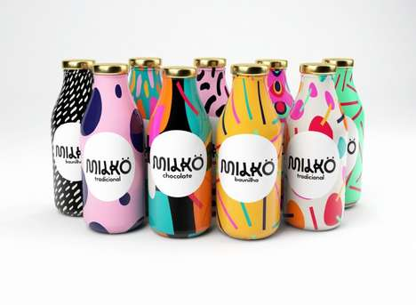 Pop Art Milk Packaging - Giovani Flores's Milkö Brand Identity Boasts Vivid Patterns and Motifs
