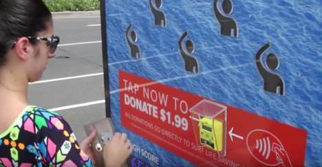 Gamified Donation Posters - Surf Life Saving's Posters Intrigue Donors with an Arcade-Style Activity
