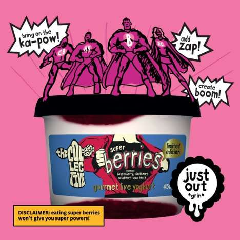 "Superpowered Yogurt Branding - The 'Super Berries' Yogurt Flavor Includes Four Berry ""Heroes"""