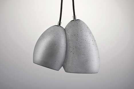 Conjoined Concrete Illuminators - The 'Boulders' Bold Pendant Light Takes on a Stone Aesthetic