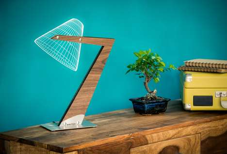 Flatpack 3D Lamps - The Aura LED Table Desk Lamp Creates the Illusion of a Traditional Lamp