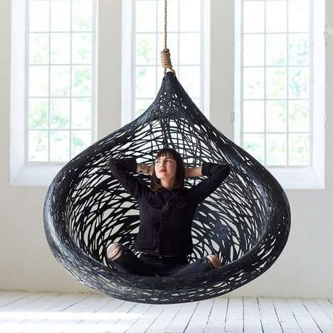 Anti-Radiowave Hanging Seats - The 'Ibis' Hanging Chair is Made with Volcanic Rock and Natural Resin
