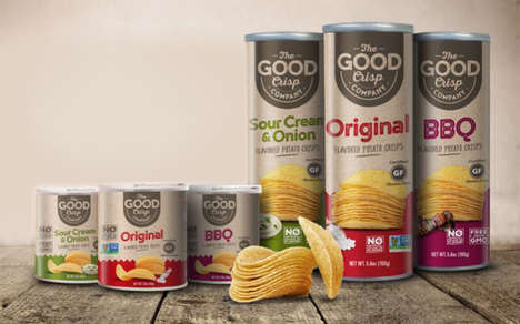 Millennial-Targeted Snack Chips - The Good Crisp Company Canned Stack Chips Have Better Ingredients