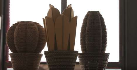 Cardboard Cactus Air Purifiers - CactusNext is a Set of Technoligical Corrugated Cardboard Flora