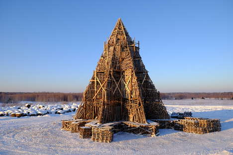 Handcrafted Wooden Pyramids - Nikolay Polissky's Latest Project is Slated to Be Burned Down