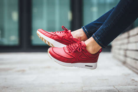 3D Embroidered Sneakers - These New Gym Red Sneakers from Nike Feature Puffed Branding