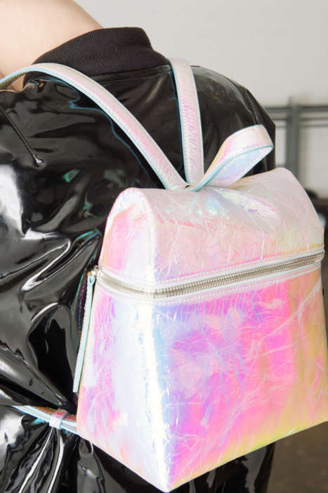 Simplistic Iridescent Backpacks - These New Backpacks and Purses are a Part of KARA's Seasonal Line