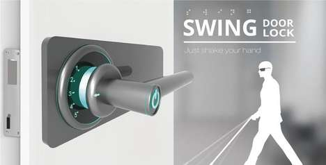Visually Impaired Door Handles - The Swing Door Lock is Turned to Unlock for Easier Utilization
