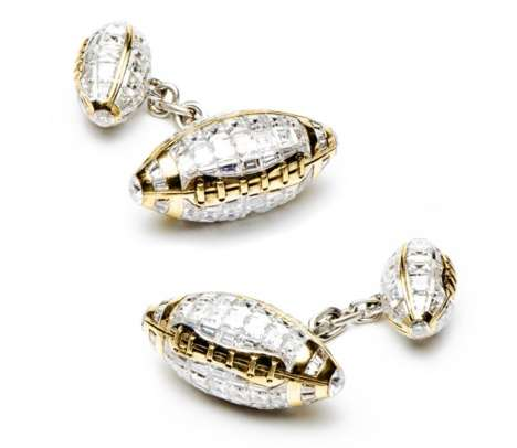 $96,000 Football Cufflinks - These Sporty Cufflinks from JACOB & CO. are Made with White Diamonds