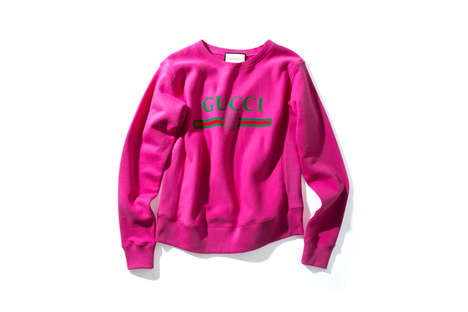 Luxe Hot Pink Sweaters - The Gucci Vintage Logo Sweater is the Perfect High-End Statement Piece