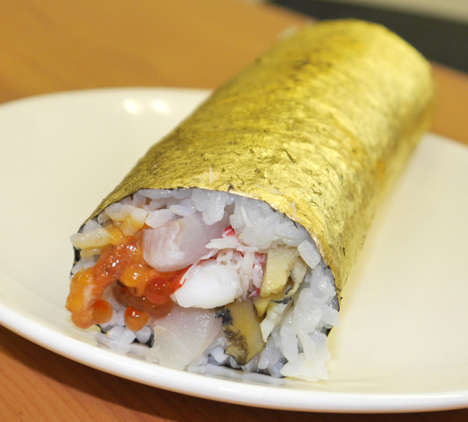 Gold-Plated Sushi Rolls - Shinjuku Isetan Offers a Sushi Roll Wrapped in Edible Gold Leaf