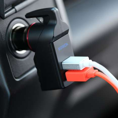 Escape Tool Car Chargers - The Ztylus Stinger Car Charger Adapter Breaks Windows and Cuts Seat Belts