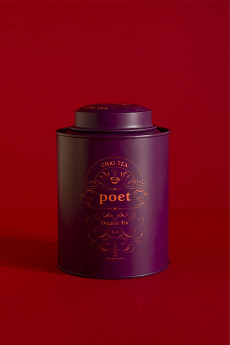 Chromatic Tea Tins - The Brand 'Poet Tea' Offers Its Products in Sophisticated Tins