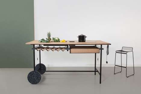 Workstation Kitchen Islands - The 'OIKOS' Office Kitchen Island Can be Placed in a Home or Workplace